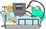 Clipart Illustration Image of a Nervous Male Patient Lying On His Stomach With His Butt Up In The Air, Clutching The Side Of A Matress Of A Hospital Bed While A Proctologist Doctor Prepares To Insert A Machine Into The Anus For A Colonoscopy And A Nurse Hangs An IV Bag